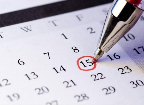 Event calendar, marking a date